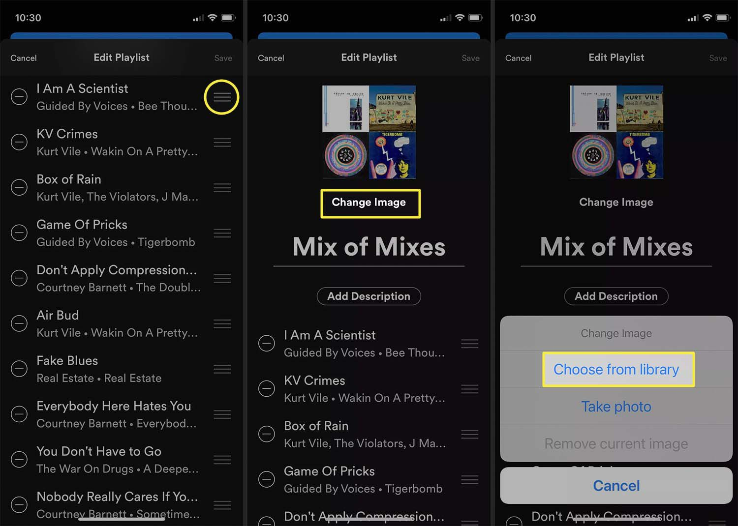 Selecting new playlist image source in Spotify iOS app.