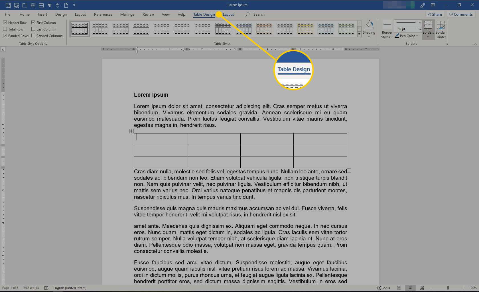 Microsoft Word with the Table Design heading highlighted