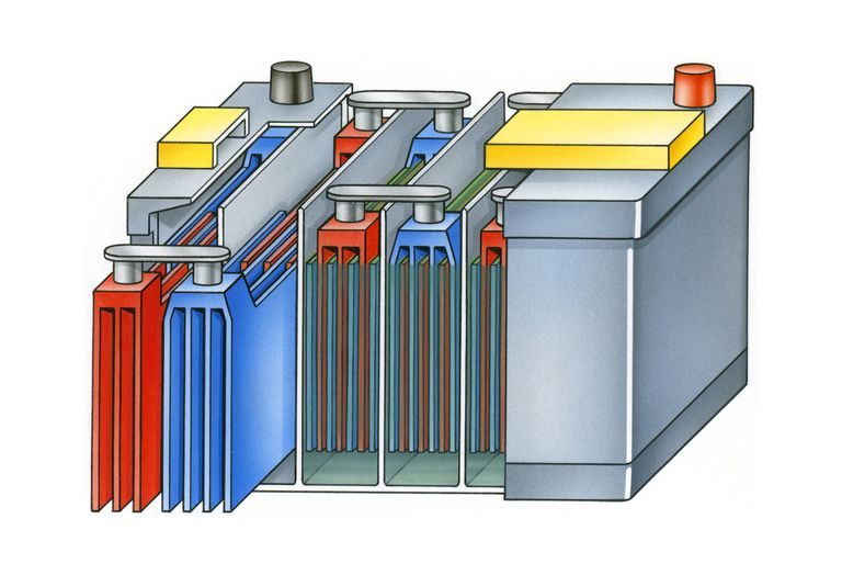 car battery cutaway illustration