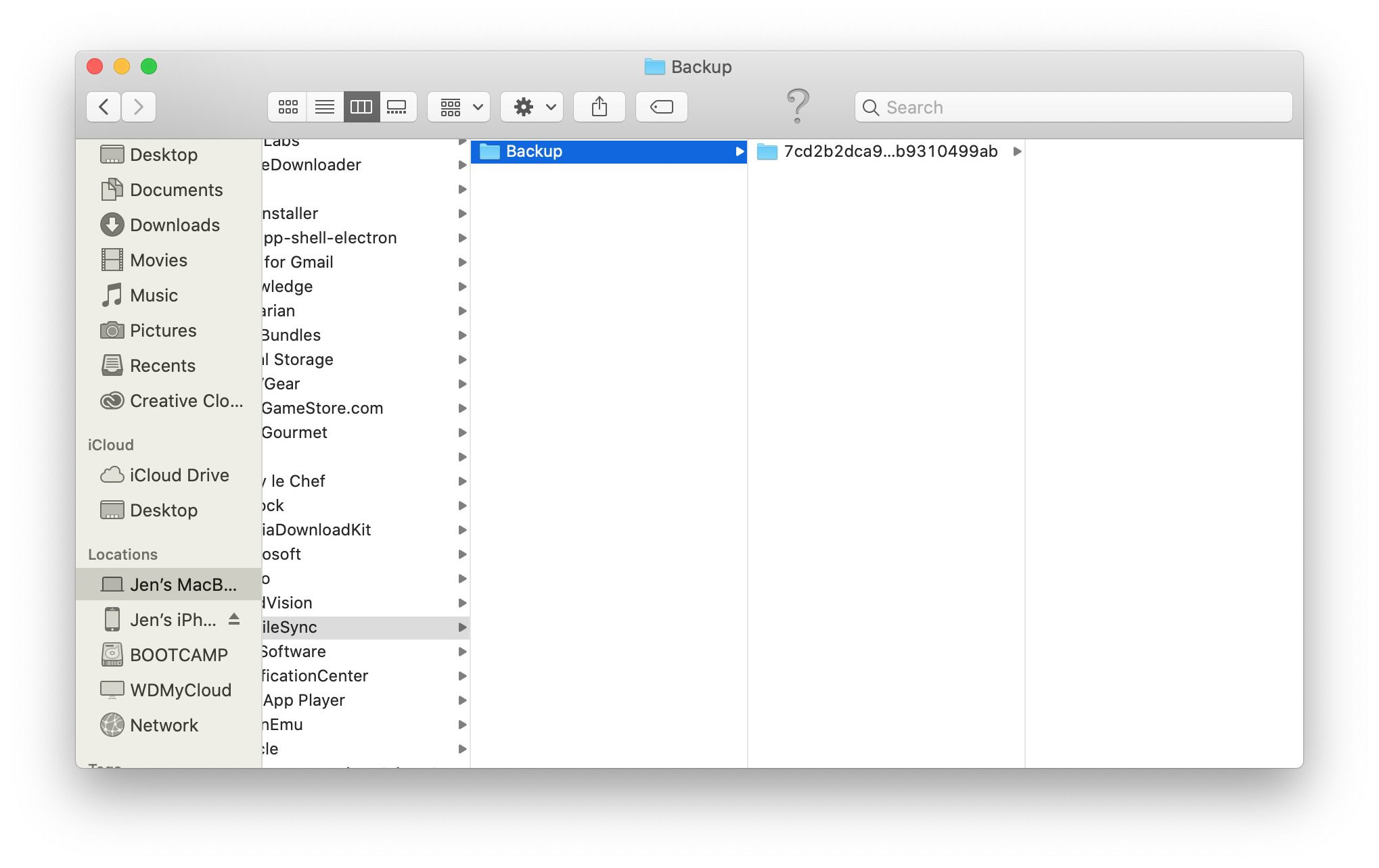 MacOS Finder window with iPhone backup location highlighted