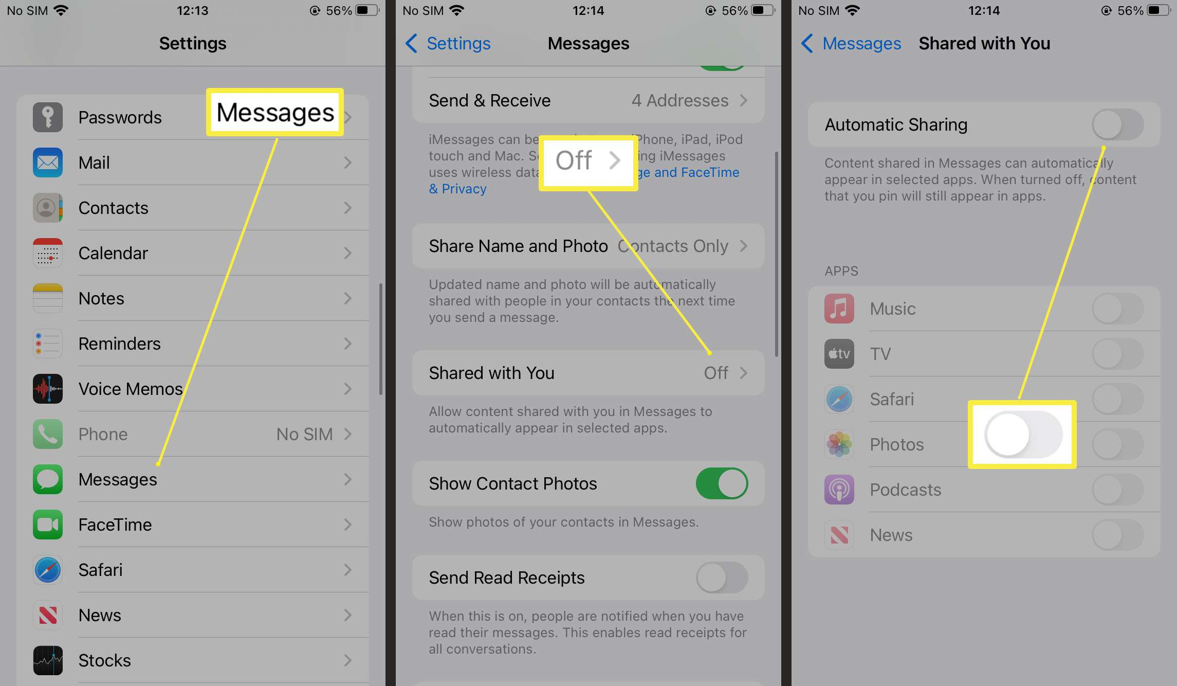 Steps required to enable automatic sharing within Messages on iOS 15