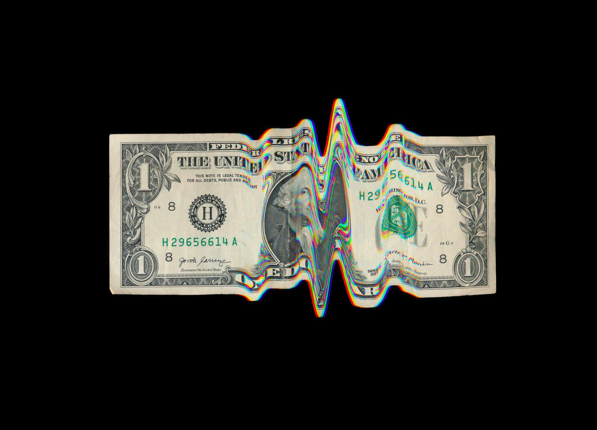 US dollar bill with glitch effect