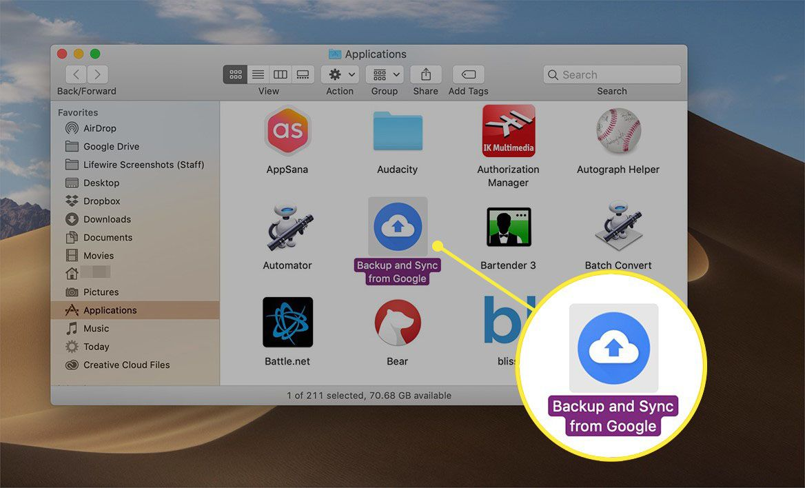 Backup and Sync from Google icon in Applications on macOS