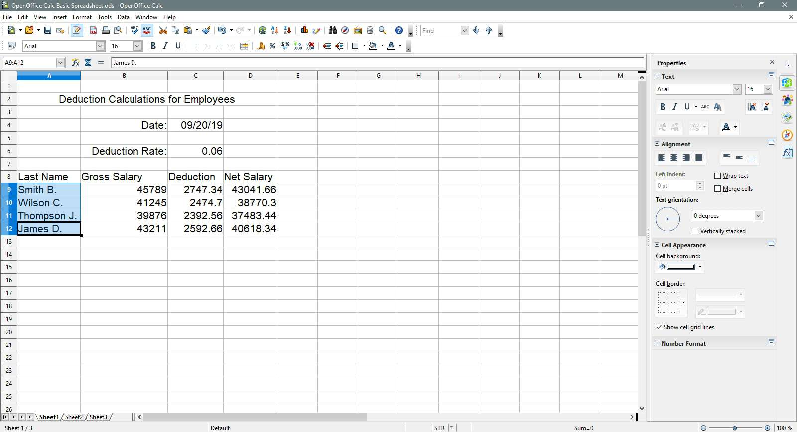 The last names are selected in OpenOffice Calc.