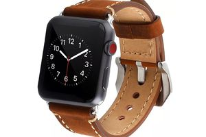 Watch Band Strap Premium Vintage Genuine Leather Replacement Watchband with Secure Metal Clasp Buckle for Apple Watch Sport Edition