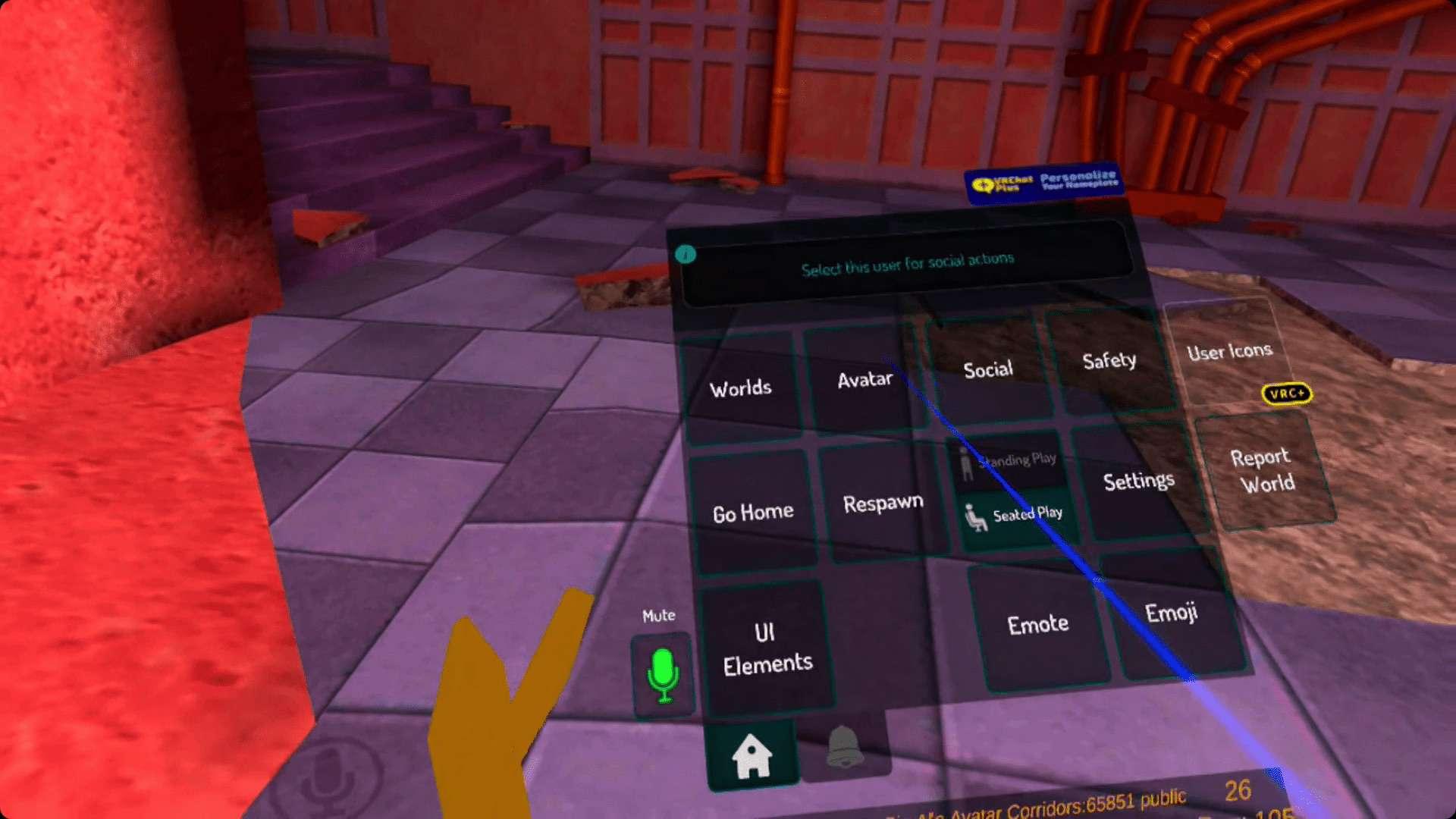 The VRChat shortcut menu.