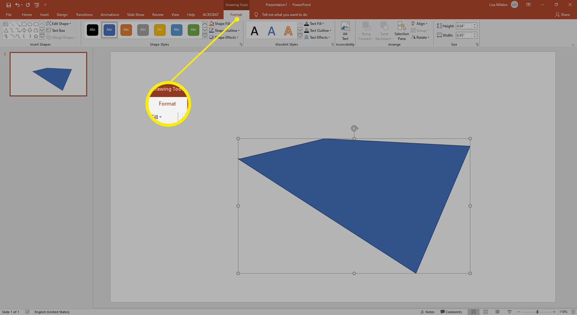 Finished custom shape using Freeform tool in Powerpoint