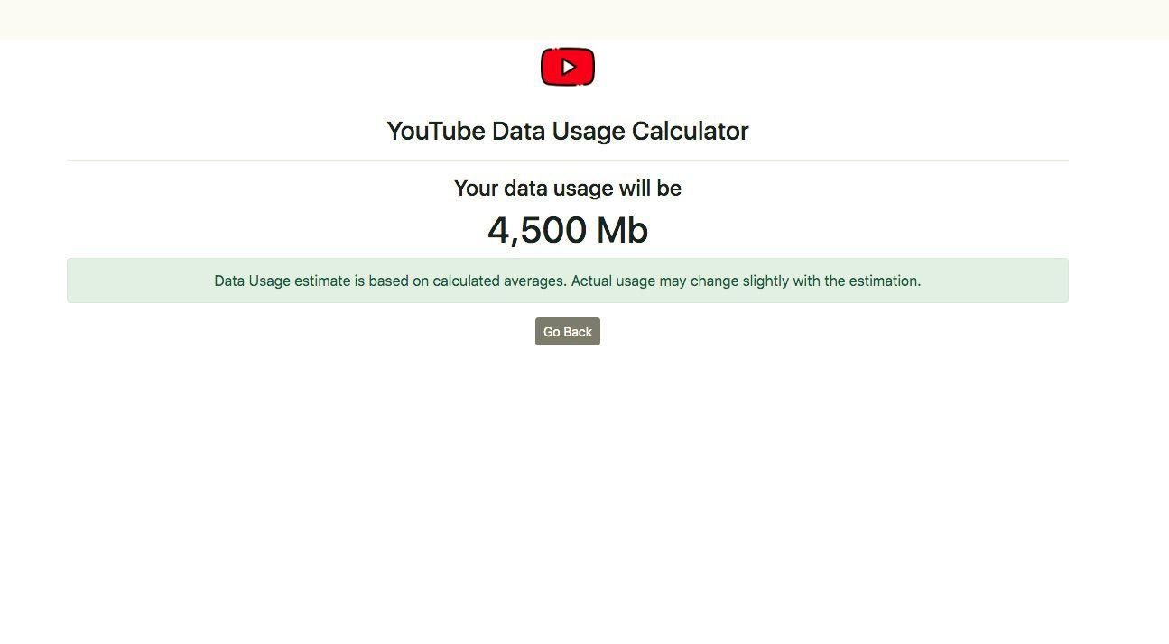 YouTube data usage calculator results.