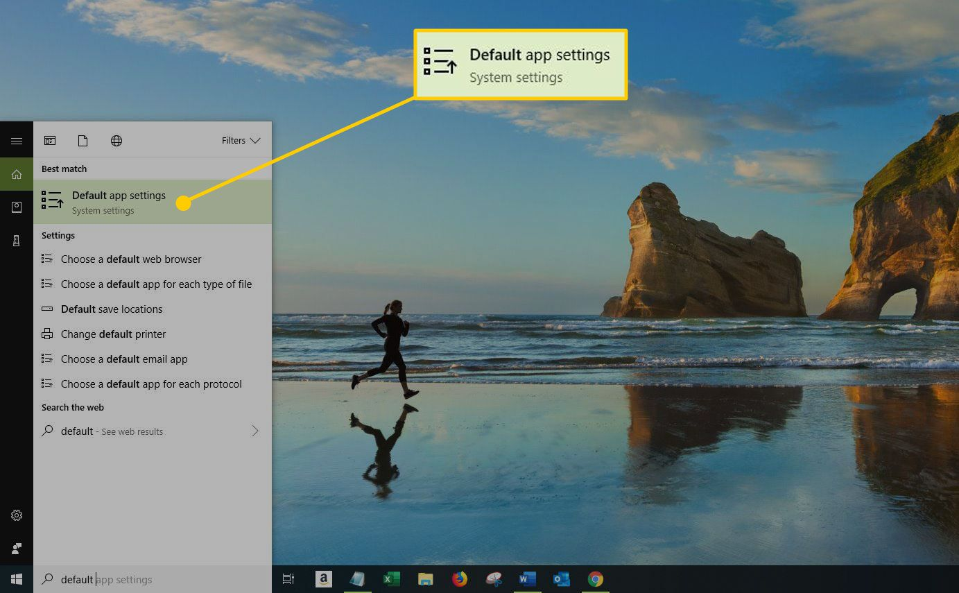 Windows 10 search window with the Default App Settings option highlighted