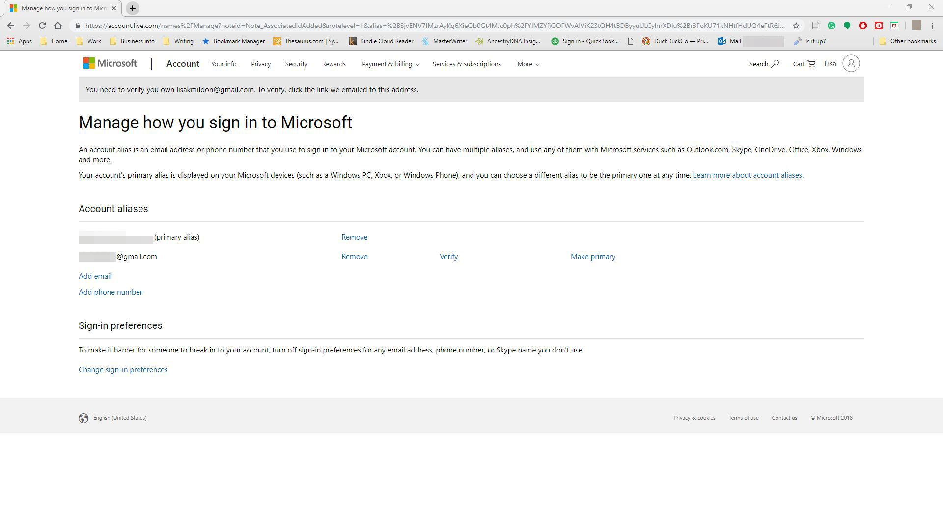 Microsoft account website showing the newly added alias screenshot