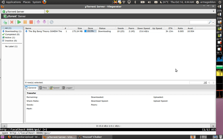 screenshot of uTorrent client running in Ubuntu