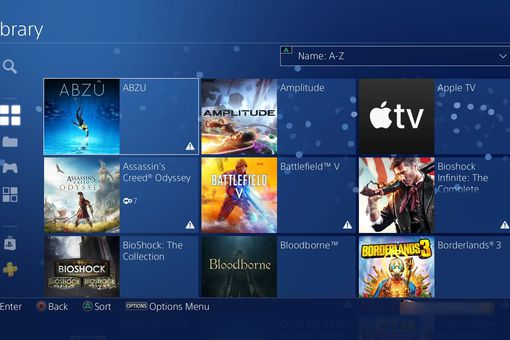 PS4 Library screen showing Abzu and other titles.