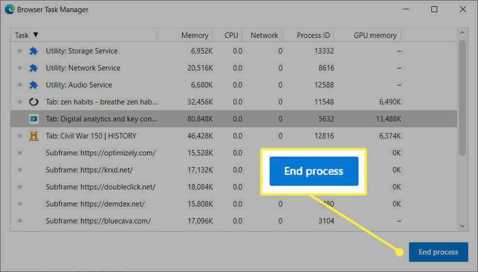 Select End Process button on browser task manager.