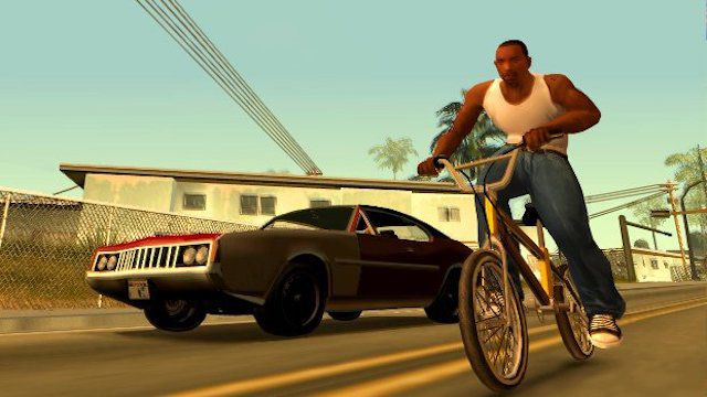 Grand Theft Auto San Andreas main character on a bicycle