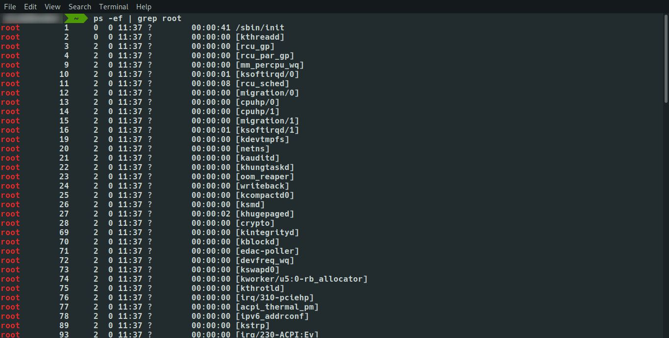 Linux ps with grep