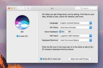 Siri preference pane in macOS