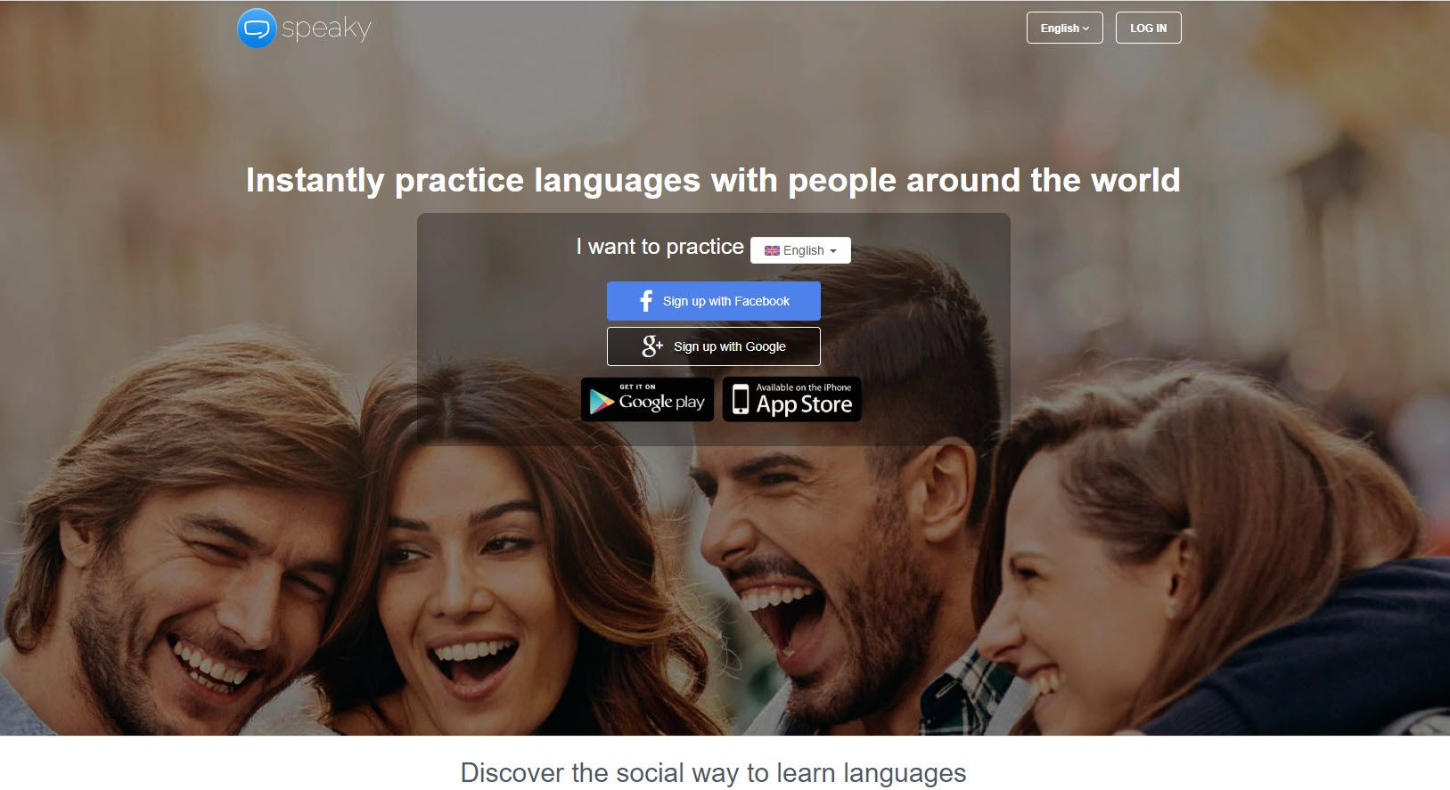Screenshot of the Speaky website.