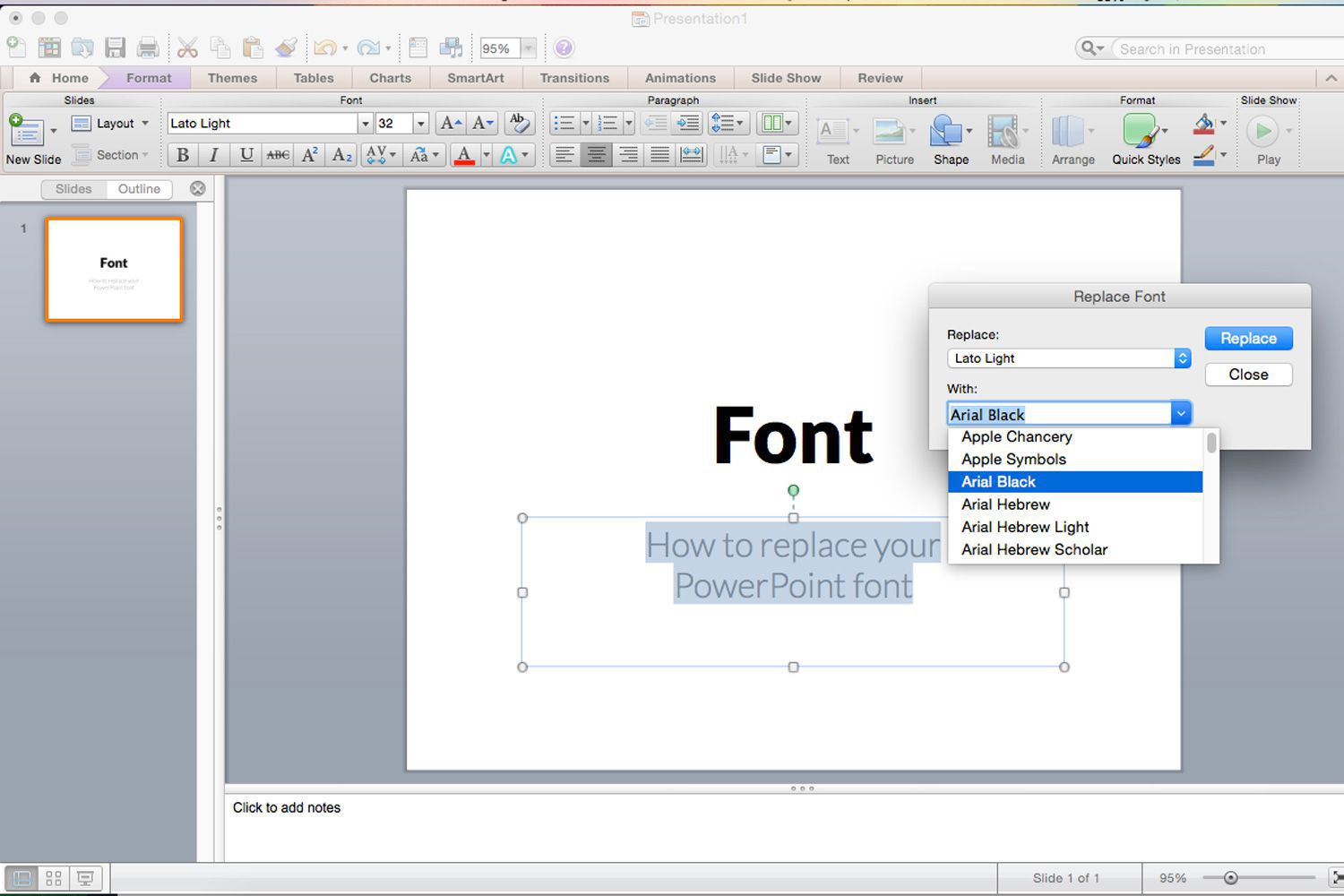 Replacing All The Fonts In My Presentation At One Time