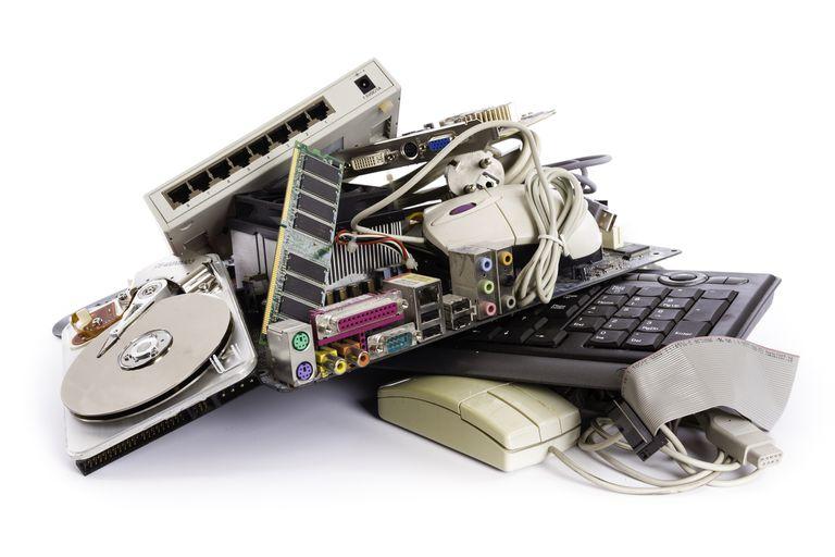 A pile of broken computer parts