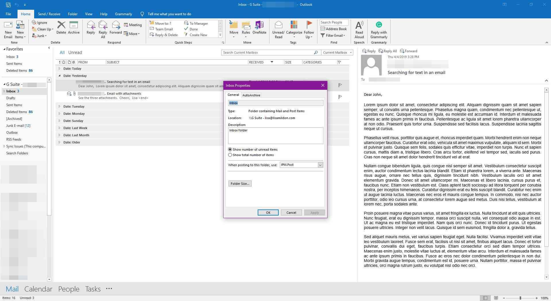 Viewing the General tab in inbox properties in Outlook.