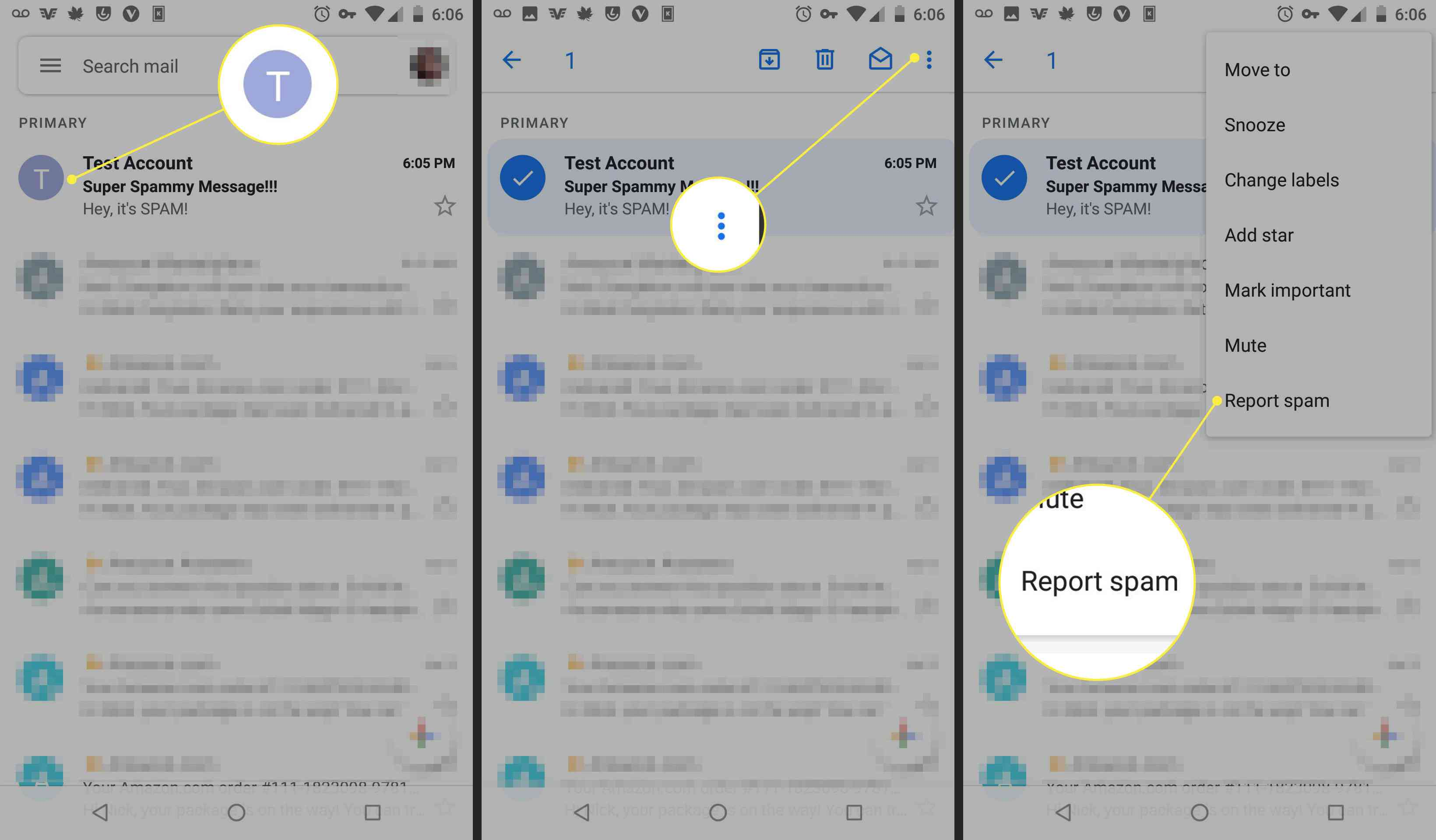 Screenshots of the Gmail app showing how to report an account as spam