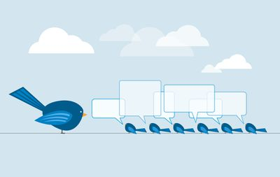 Cartoon illustration of a row of bluebirds on phone line chatting with speech bubbles.