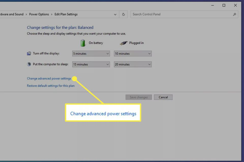 Change advanced power settings highlighted from Power Options in Windows 10.