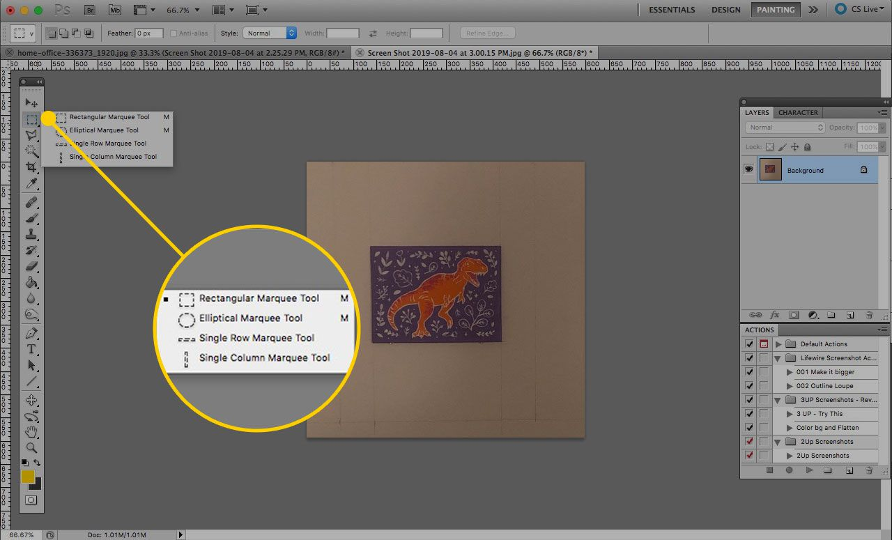 Marquee tool selection menu in Photoshop