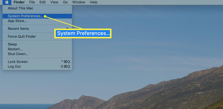 Apple menu showing System Preferences in menu