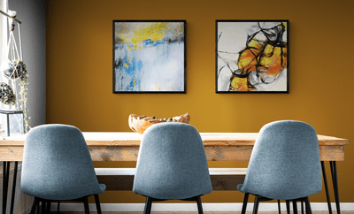 AI-generated artwork hanging on a dining room wall.