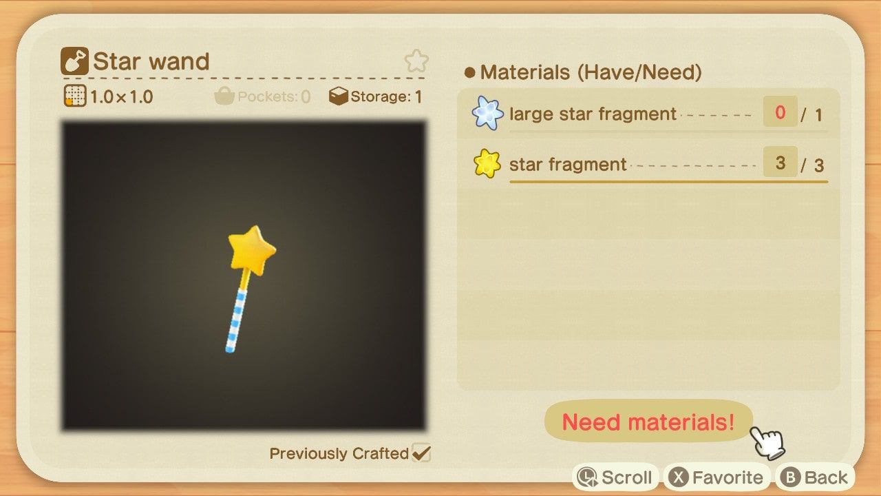 Animal Crossing: New Horizons star wand