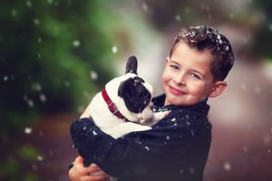 Young boy holding his french bulldog puppy in the snow