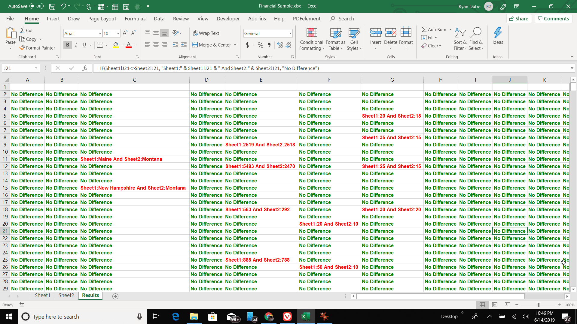 Screenshot of conditional formatting showing cell differences