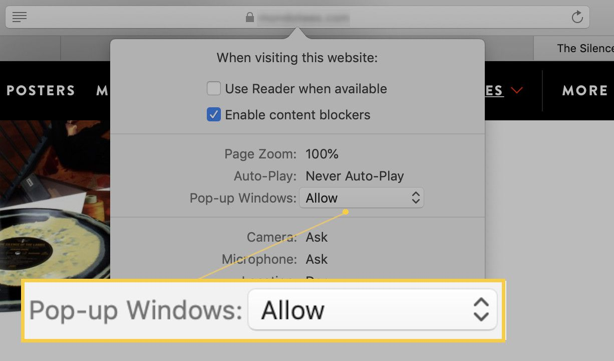 Screenshot of the Pop-up Windows dropdown.