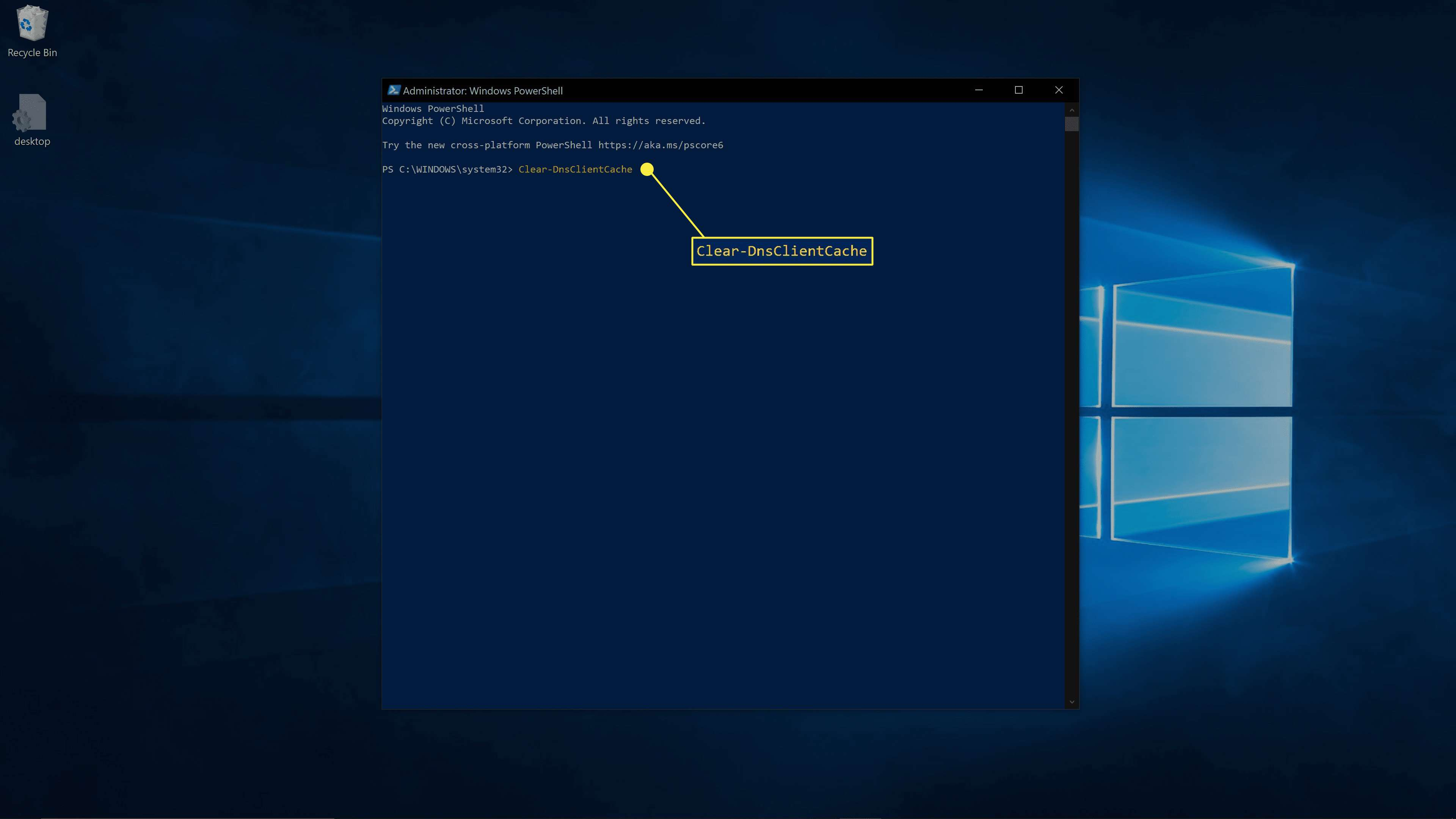 Clearing DNS using the Windows PowerShell.