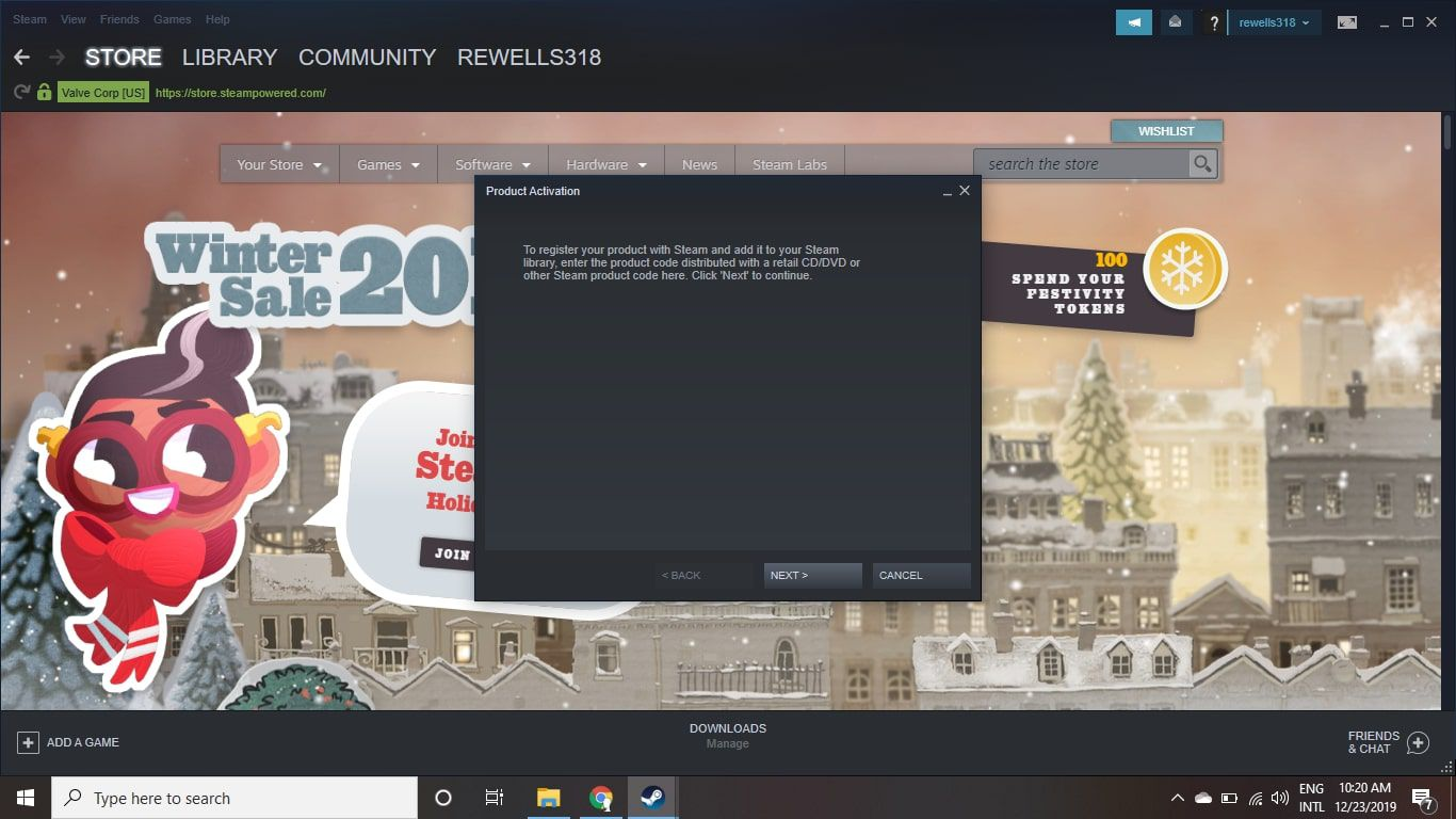 Product activation menu in Steam