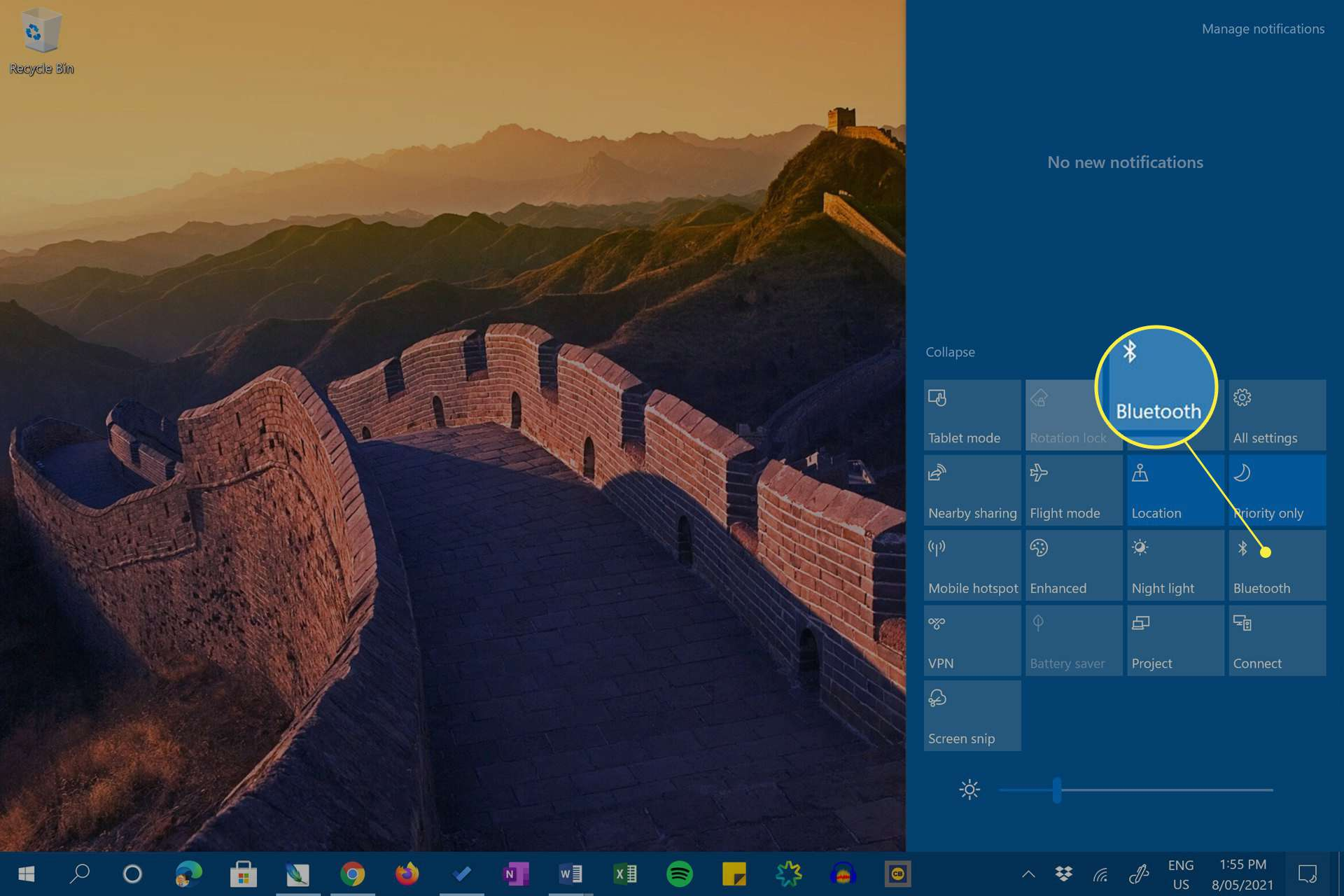 Windows 10 Action Center with Bluetooth highlighted