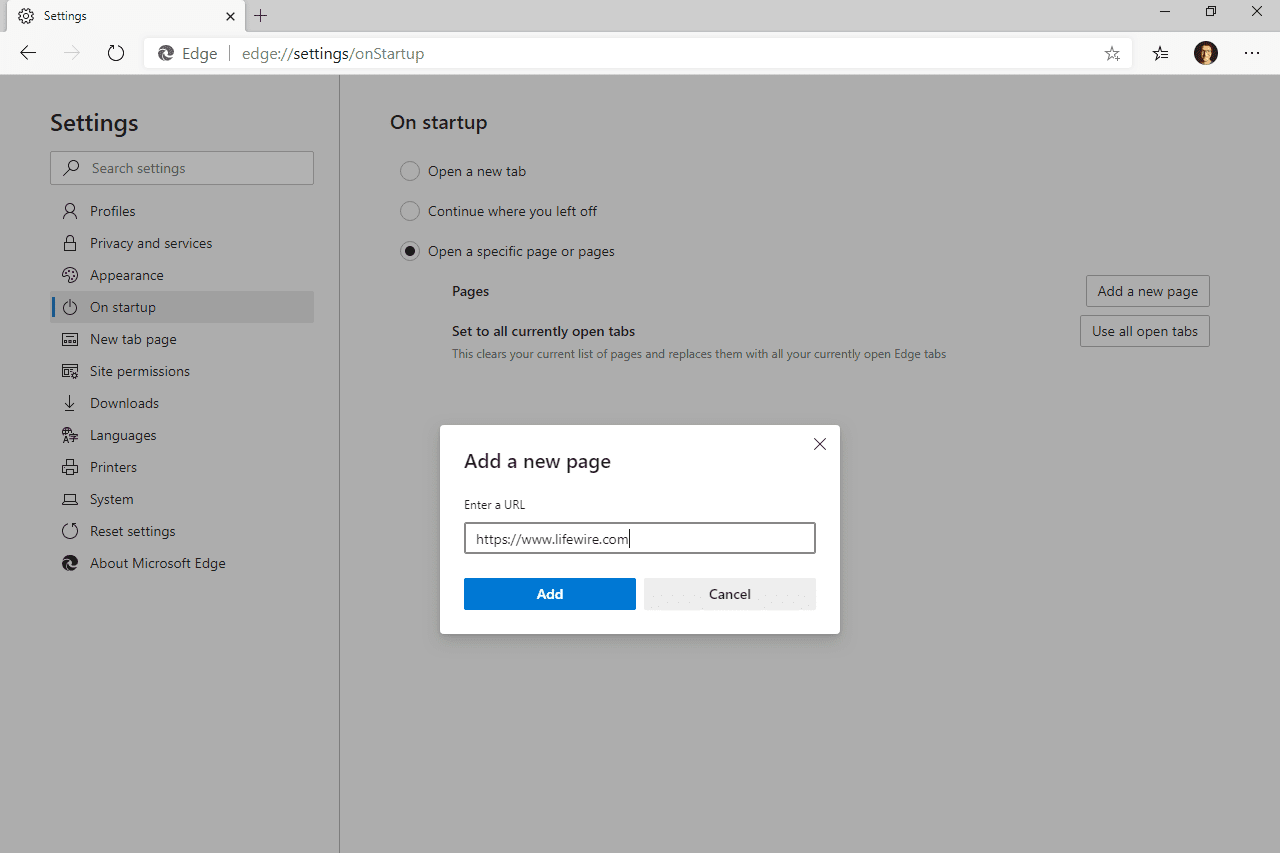 Edge add a new page prompt