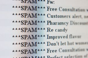 Spam email on a computer screen