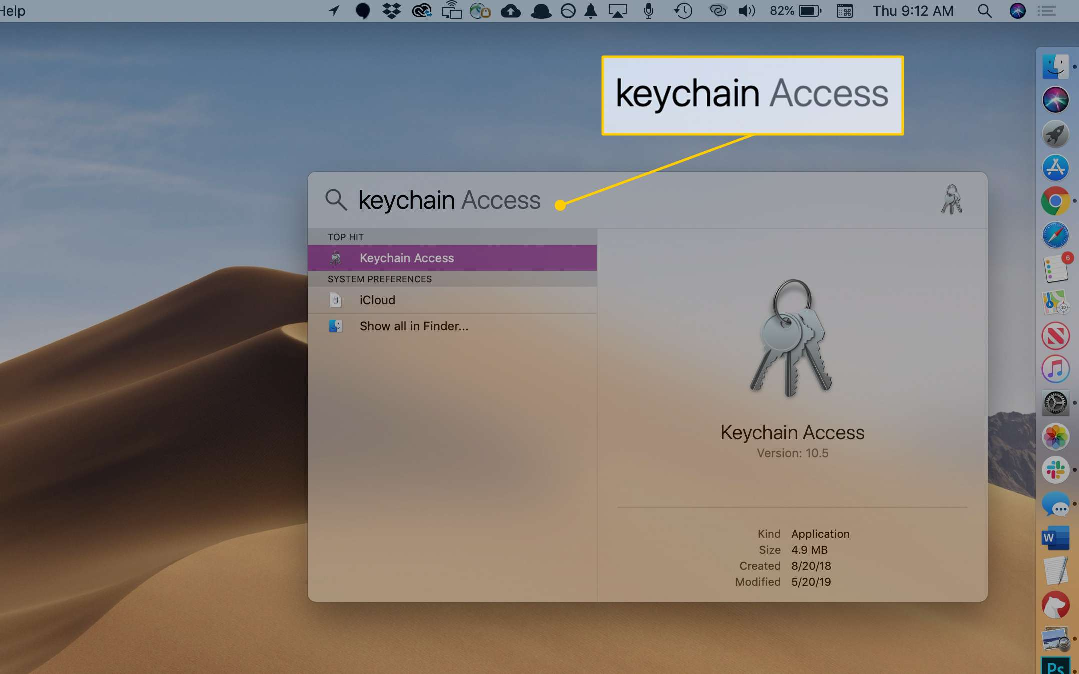 keychain Access search term in macOS