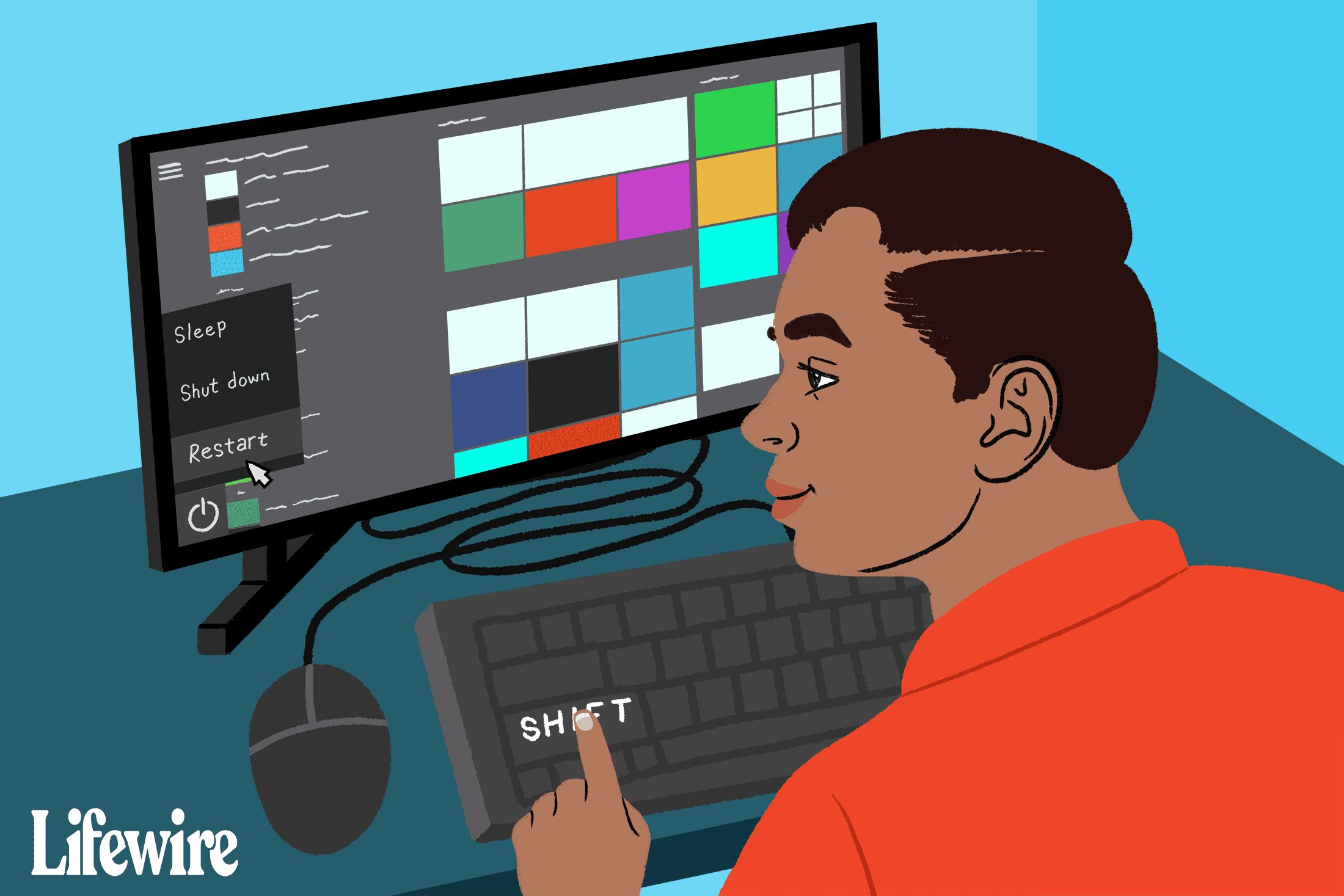 Person Shift-clicking Restore in Windows Start menu