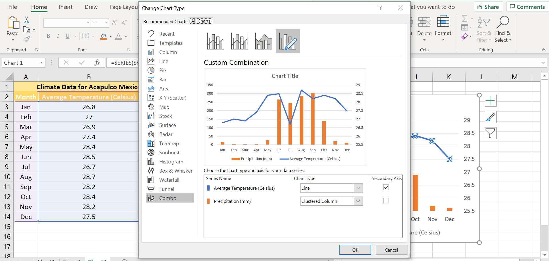The Change Chart Type dialog box in Excel