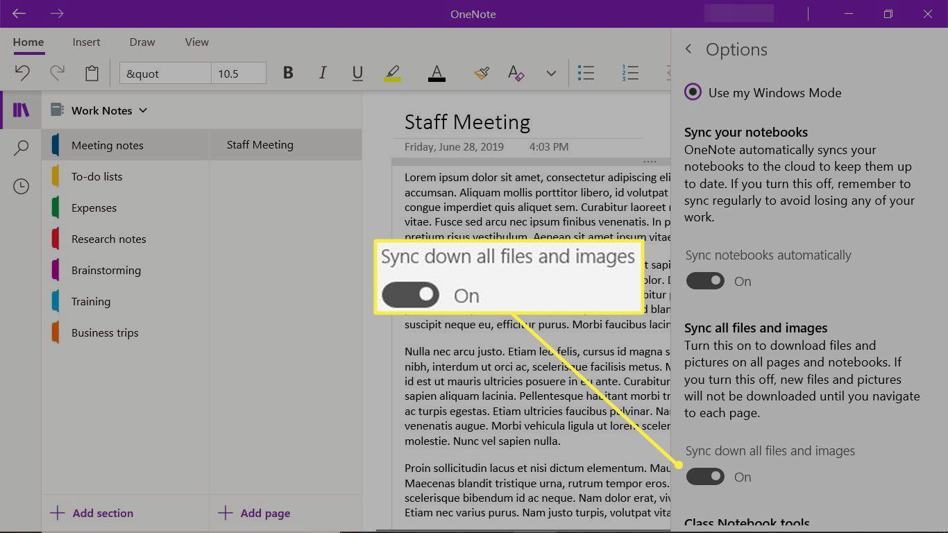Enable sync options in the OneNote desktop app