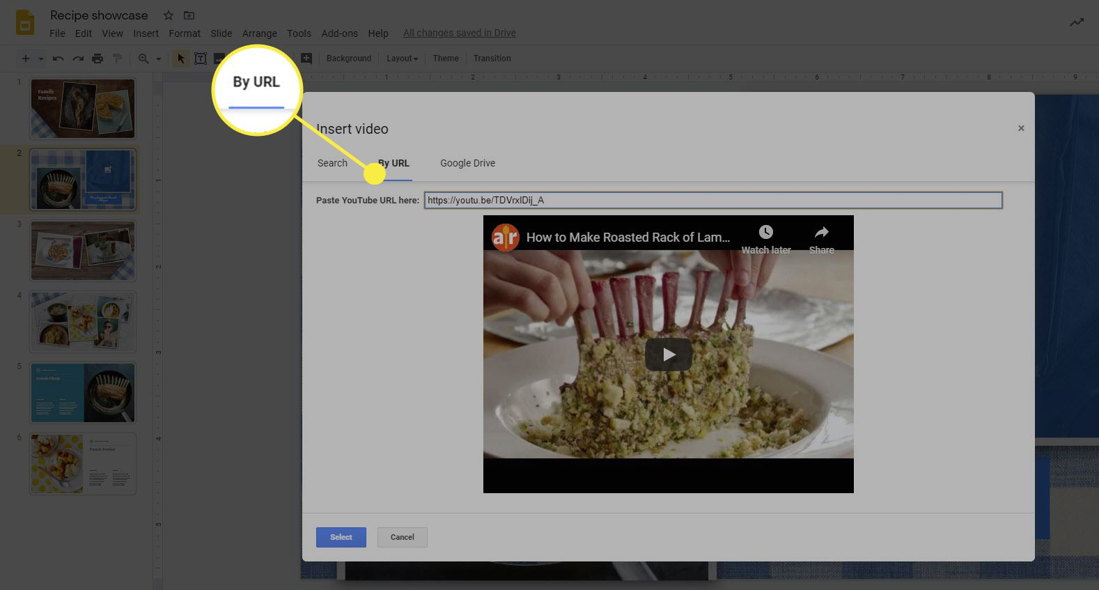 The option to add a YouTube video by URL in Google Slides.
