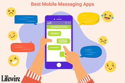 An illustration of a person using a mobile messaging app on a smartphone.