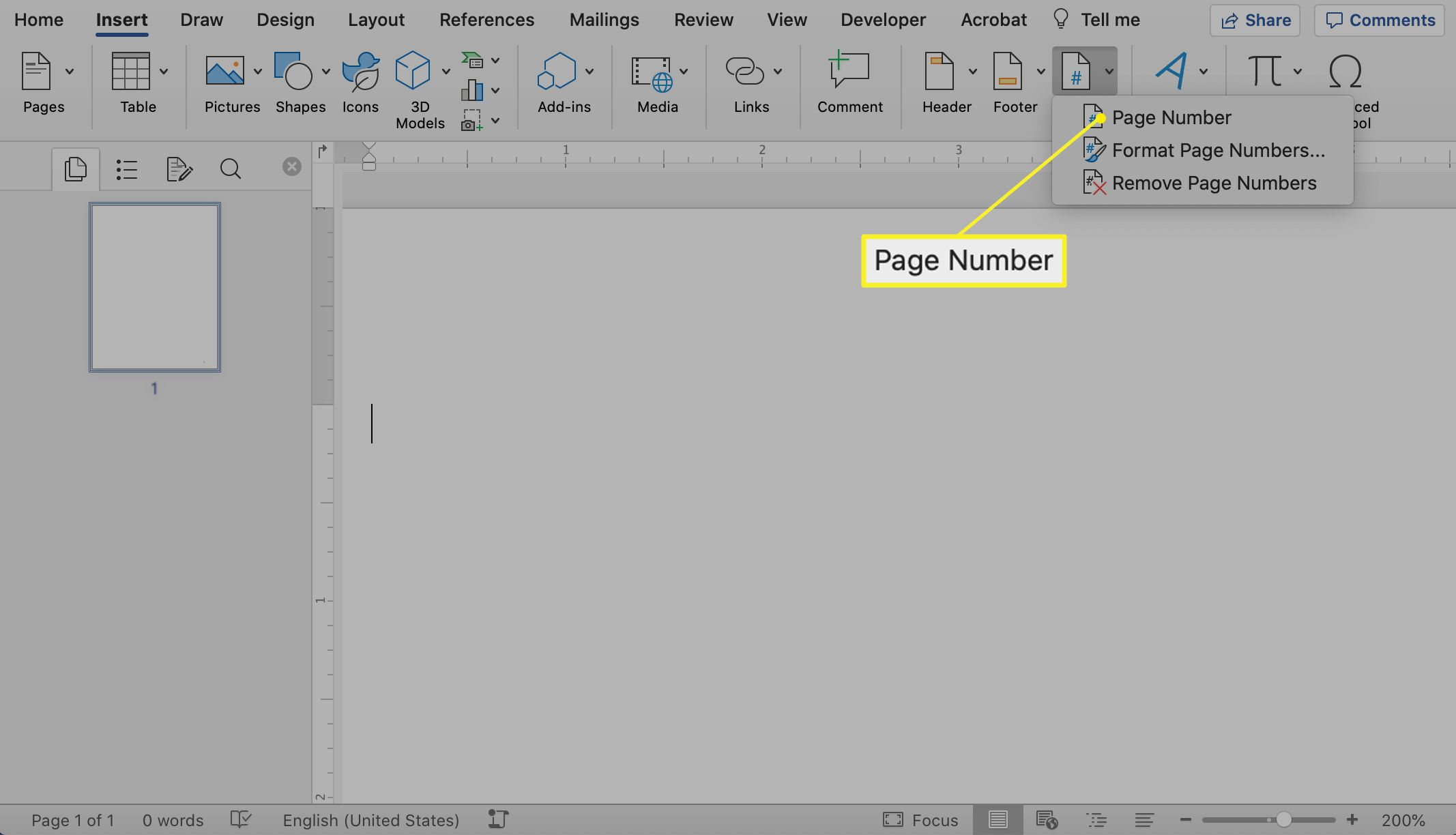 Page Number selected from Page Number drop-down menu in Word