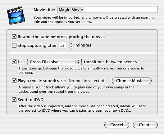 Magic Movie settings page