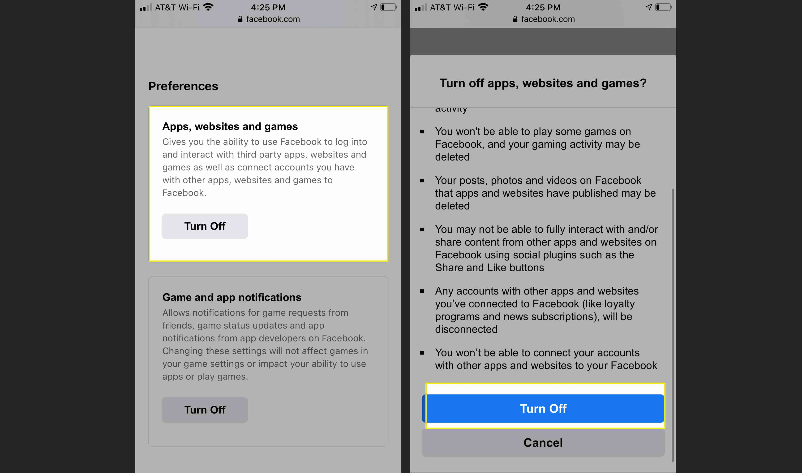 Facebook permissions on iPhone in Safari with Apps, websites and games, and Turn Off highlighted