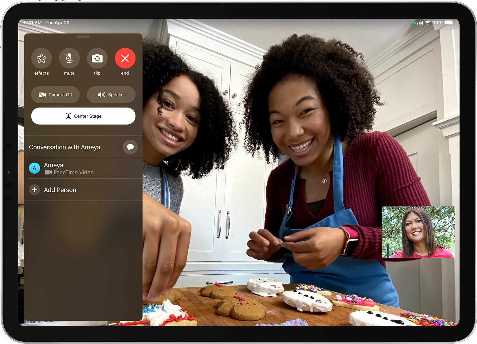 FaceTime Center Stage on an iPad Pro