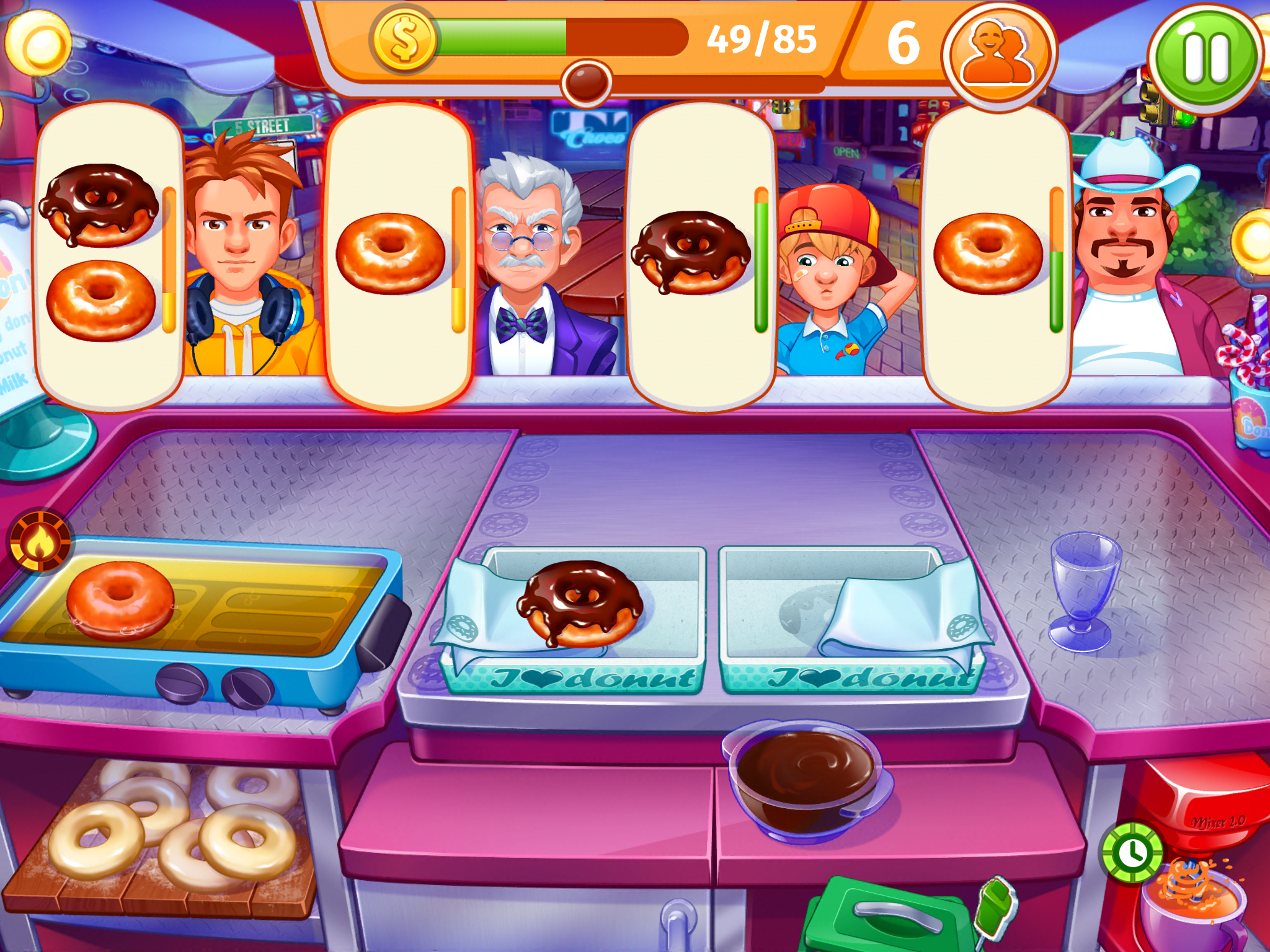 Screenshot of Cooking Madness Android game of donuts being served to customers